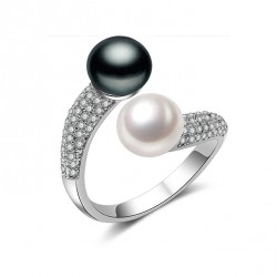 925 Sterling Silver Double Freshwater Pearl Ring