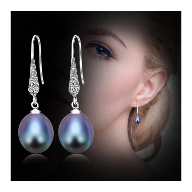 23f67e6386d6 Pendientes de plata 925 con perla natural negra o blanca