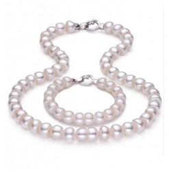 Natural Fresh Water Pearl Jewelry Set with Silver Heart