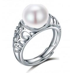 Anillo ajustable de plata 925 y perla