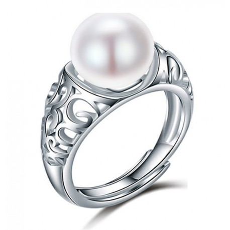 925 Sterling Silver Natural Freshwater Pearl Adjustable Ring