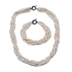 Rice Shape Natural Freshwater Pearl Jewelry Set