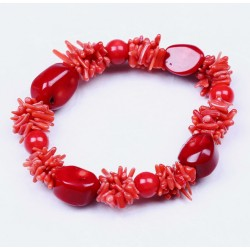 Three Different Shape Authentic Red Coral Bracelet