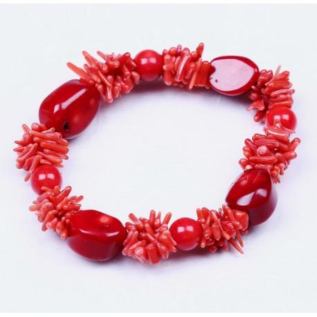 imágenes oficiales bueno venta minorista Pulsera de cuentas en coral rojo auténtico, con tres tipos de piezas