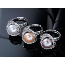 Anillo con corona doble con cristales de circonita y perla natural