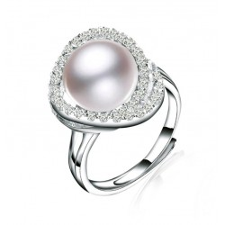 Adjustable Ring with Crystals and Freshwater Cultured Pearl