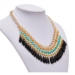 Ethnic Egyptian Necklace With Colorful Acrylic Pendants
