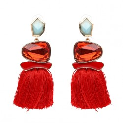 Tassel Fringe Drop Earrings With Crystal Mekong