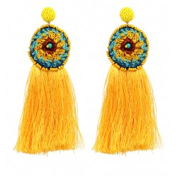Handmade Crochet Yellow Fringe Long Tassel Earrings Oaxaca