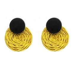 Handmade Rope Weave Round Crochet Drop Earrings Cancún