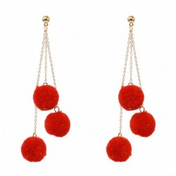 Long Tassel Earrings with Colorful Pom Poms