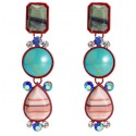 Geometric Statement Drop Earrings With Colorful Stones and Crystals