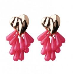 Heart Shape Earrings with Resin Beads Tassels