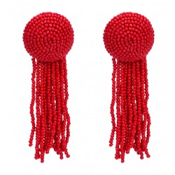 Bohemian Trendy Red Resin Beads Tassel Earrings