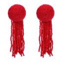 Pendientes de moda maxi elaborados a mano en color rojo