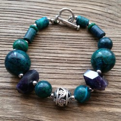 Natural Phoenix Stone and Amethyst Bracelet with Toggle Clasp