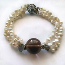 3 Strand Natural White Pearl and Smoky Quartz Bracelet