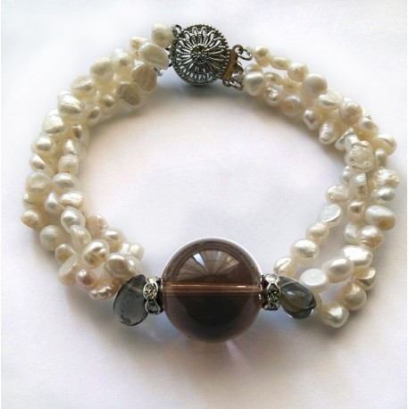 3 Strand Natural White Pearl And Smoky Quartz Bracelet