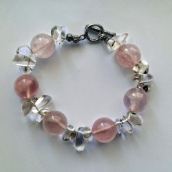 Natural Rose and White Quartz Bracelet with Toggle Clasp