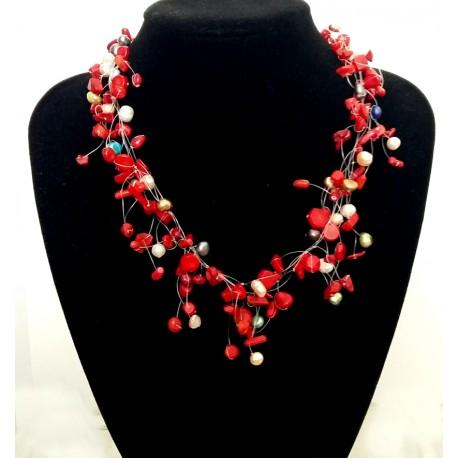 Collar con Coral rojo y Perlas naturales coloridas