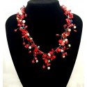 Red Coral and Colarful Pearl Necklace with Lobster Clasp