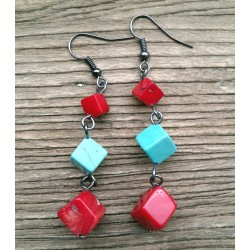 Cubic Red Coral And Blue Turquoise Dangle Earrings