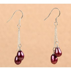 Pendientes con dos perlas color bordeaux