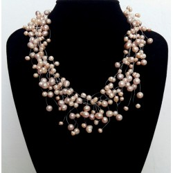 Multi Strands Natural Freshwater Pearl Bridal Necklace