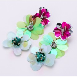 Exaggerated Earrings with Three Large Colorful Flowers