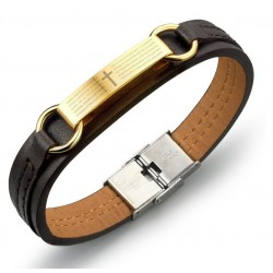 Bible Brown Leather & Stainless Steel Bracelet for Men