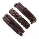 Lote de 3 pulseras unisex, elaboradas artesanalmente en piel auténtica