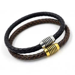 Leather Bracelet with Magnetic Clasp for Men
