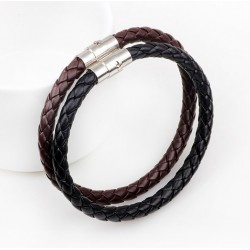 Genuine Braided Cowhide Leather Bracelet for Men