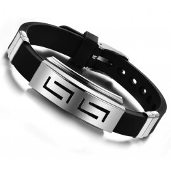Men Bracelet Silicone with Stainless Steel Decoration