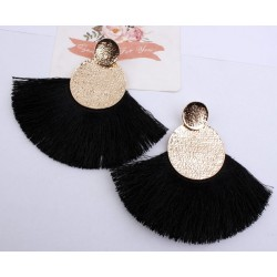 Bohemian Tassel Fringe Earrings With Gold Colour Circles