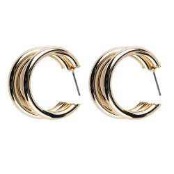 Round Circle Rings Earrings Gold Color