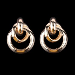 Gold Color Metal Drop Earrings with Circles