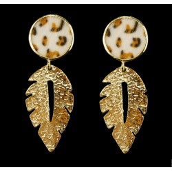 Geometric Metal Leaf Pendant Statement Earrings