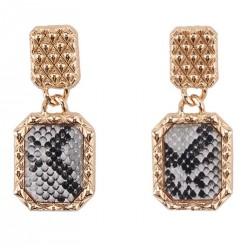 Geometric Metal Drop Earrings Animal Print