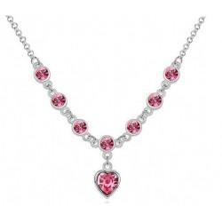 Collar con corazón de cristal rosa