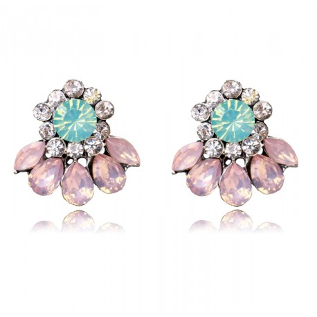 Statement Stud Flower Earrings with Crystals