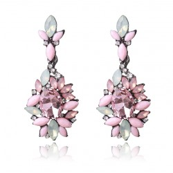 Pink Color Big Statement Crystal Earrings
