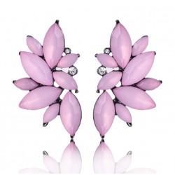 Pendientes geométricas con cristales rosas