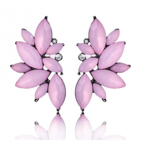 Elegant Geometric Flowers Pink Crystal Stud Earring