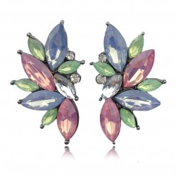 Elegant Geometric Flowers Crystal Stud Earrings