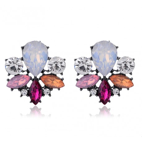 Colorful Acrylic Crystal Stone Stud Earrings