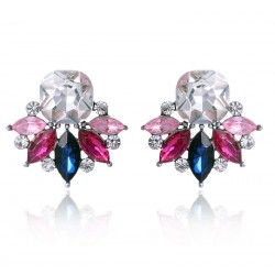 Multiple Colors Crystal Flower Stud Earrings
