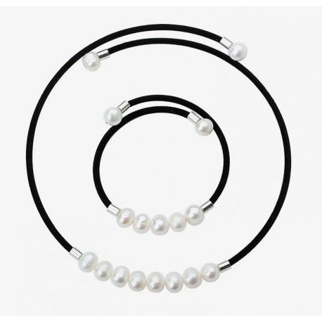 1cb8b263438d Conjunto Collar y Pulsera con perlas autenticas cultivadas