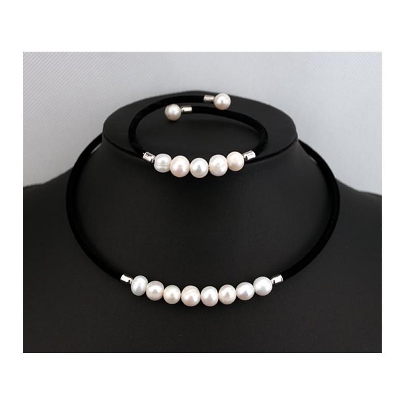 d909704f6b53 ... Conjunto Collar y Pulsera con perlas autenticas cultivadas ...