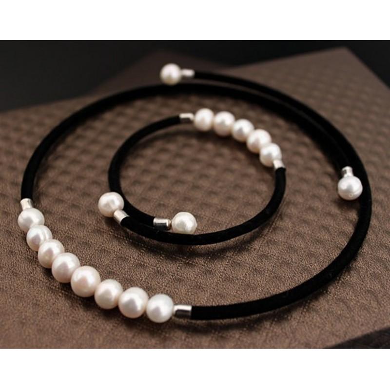 98a8a581c58c ... Conjunto Collar y Pulsera con perlas autenticas cultivadas